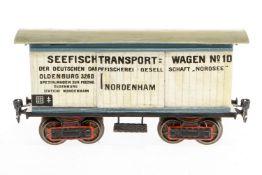 Märklin Seefischewagen, S 1, uralt, handlackiert, mit 2 ST, Chassis und Stirnseiten nachlackiert,