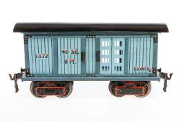 Märklin Pferde-/Gepäckwagen 1872, S 1, uralt, handlackiert, mit 4 ST, Dach und Unterboden rest.,