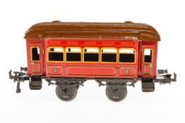 Bing Personenwagen, S 1, Chromlithographie, mit 4 AT, Lackschäden teilweise ausgebessert, L 24, Z
