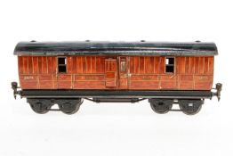 Märklin engl. Gepäckwagen 2874 LNER, S 1, Chromlithographie, mit 2 AT, 1 Türgriff fehlt, Lackschäden