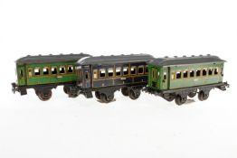 3 Carette Wagen, S 1, Chromlithographie, mit je 4 AT, versch. Kupplungen, L 23,5, Z 3