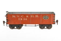 Märklin amerik. Hochbordwagen 2930 NYC, S 1, handlackiert, Lackschäden und gealterter Lack, L 28,