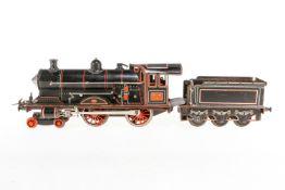Carette 2-B Dampflok 1134 W, S 1, Uhrwerk def., schwarz, mit Tender, Lackschäden, Kleinteile NV, Z