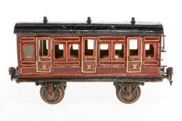 Märklin Abteilwagen, S 1, uralt, handlackiert, mit Inneneinrichtung und 6 AT, teilweise