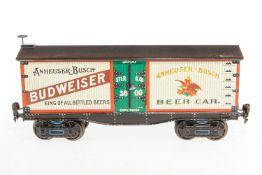 """Bauer amerik. Bierwagen """"Budweiser"""" 2960, S 1, handlackiert, mit 2 DT, Lackschäden, L 31,5,"""