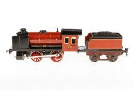 Märklin B-Dampflok R 971, S 1, Uhrwerk intakt, braun/schwarz, mit Tender und kW, Lackschäden und