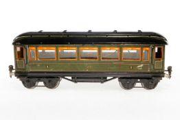 Märklin Personenwagen 1886, S 1, CL, mit Beleuchtung und 4 AT, LS und gealterter Lack, L 33, im