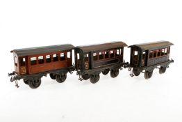 3 Bing Personenwagen, S 1, uralt, CL, LS und gealterter Lack, L 19,5, Z 3