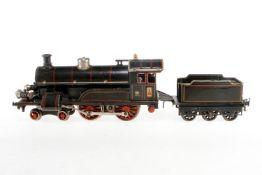 Bing 2-B Dampflok, S 1, Starkstrom, schwarz, mit Tender und 2 el. bel. Stirnlampen, LS tw