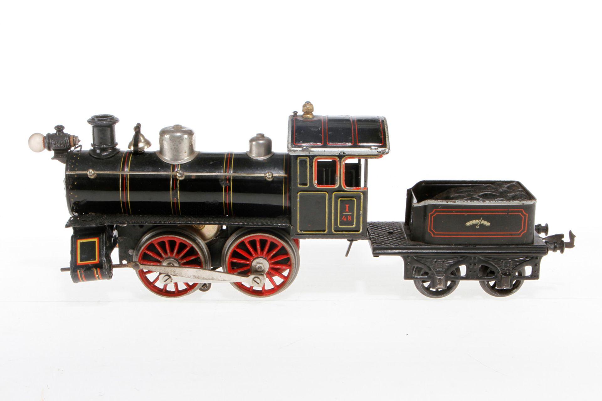 Bing amerik. B-Dampflok, S 1, uralt, elektr., schwarz, mit Tender, Glocke und el. bel. Stirnlampe,