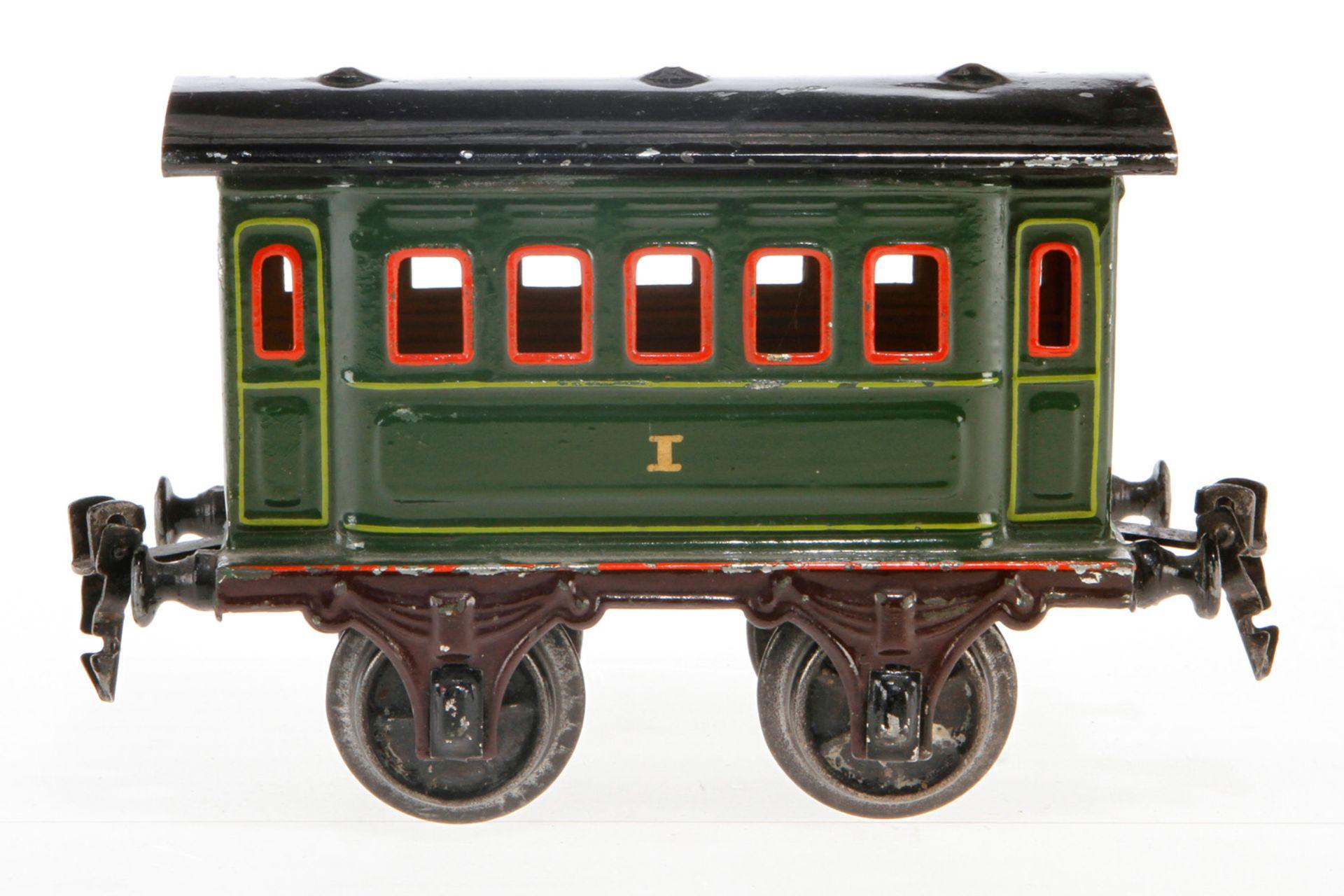 Märklin Personenwagen 1861, S 1, uralt, grün HL, LS und gealterter Lack, L 15, Z 2-3