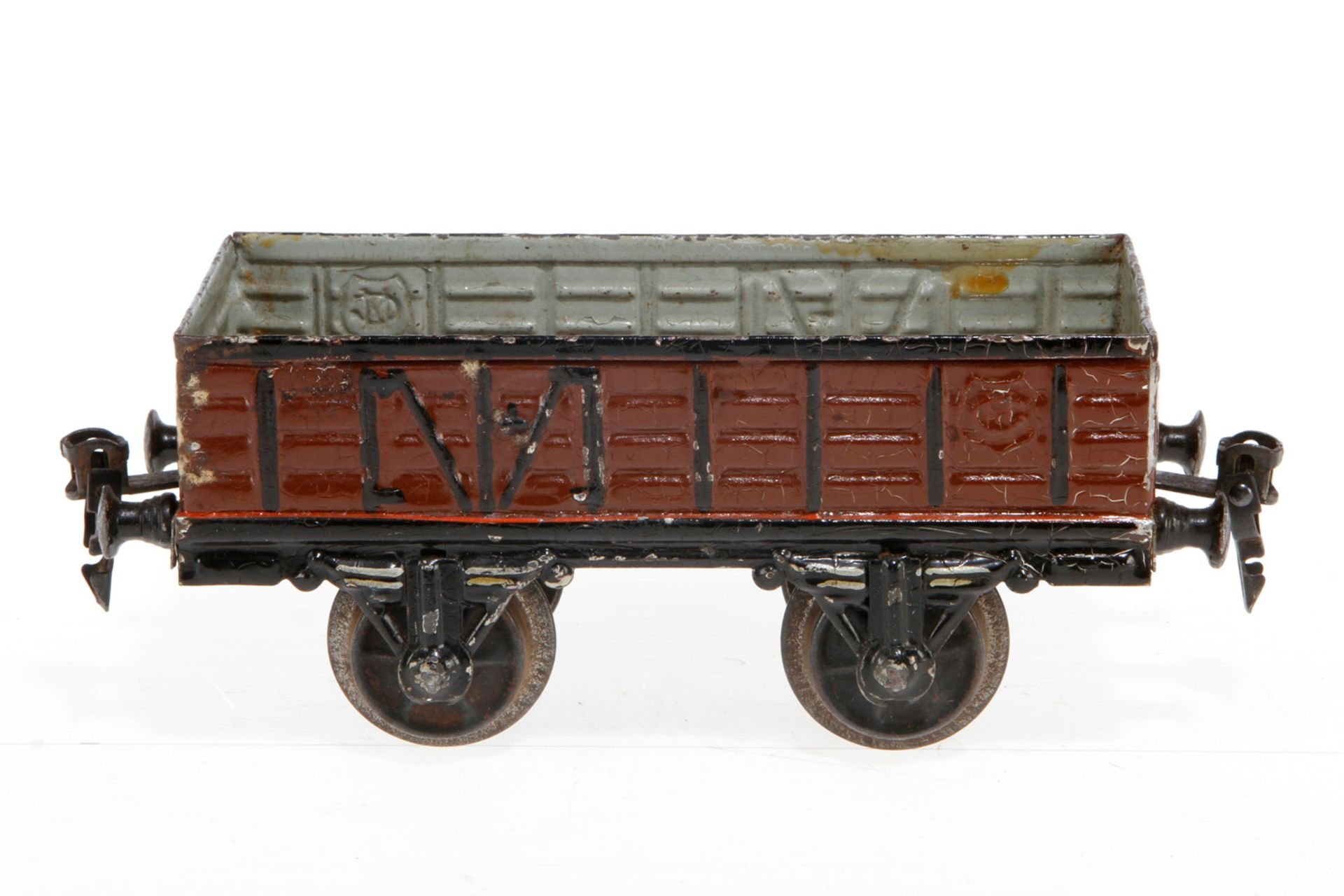 Märklin offener Güterwagen, S 1, uralt, HL, LS und stark gealterter Lack, L 17,5, Z 3