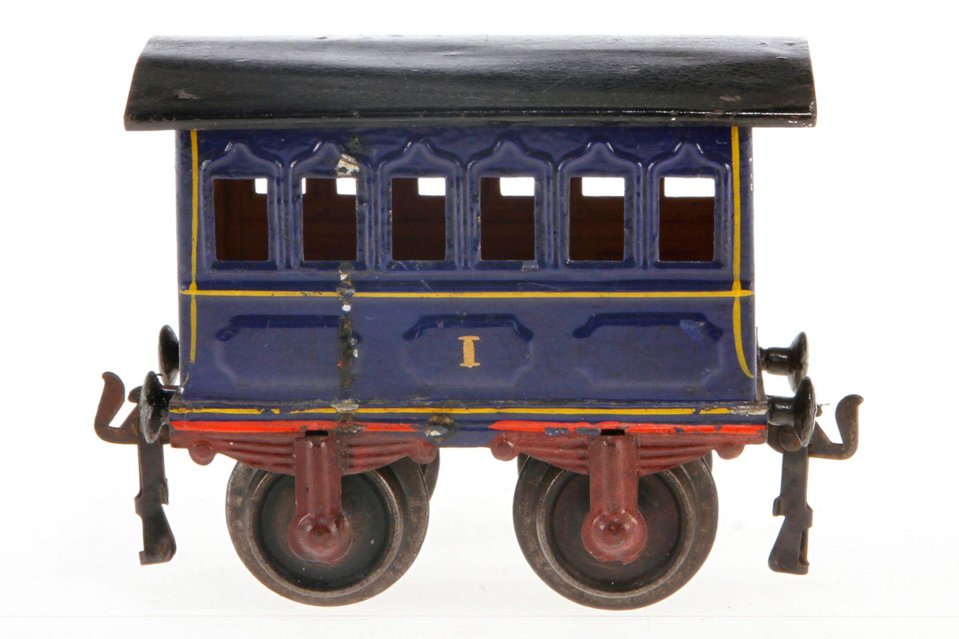Märklin Personenwagen 1805, S 1, uralt, blau HL, 1 Puffer ersetzt, LS und gealterter Lack, L 12, Z