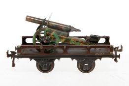 Bing Plattformwagen, S 1, uralt, CL, mit Ideal Kanone beladen, LS, L 21, Z 2-3