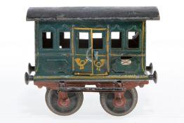 Märklin Postwagen, S 1, uralt, HL, mit Inneneinrichtung und 2 DT, Kupplungen fehlen, L 12,5, Z 4