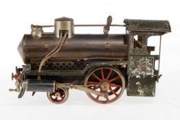 Schoenner 1-A Dampflok, S 1, uralt, spiritusbetrieben, HL, ohne Tender und Brenner, NV, zum