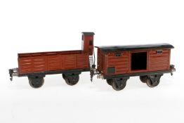 2 Märklin Güterwagen, S 1, HL, 1 mit BRHh, LS tw ausgebessert, gealterter Lack, L 19,5, Z 2-3