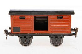 Märklin gedeckter Güterwagen 1965, S 1, HL, mit 1 TÖ, LS und gealterter Lack, L 19,5, Z 2-3