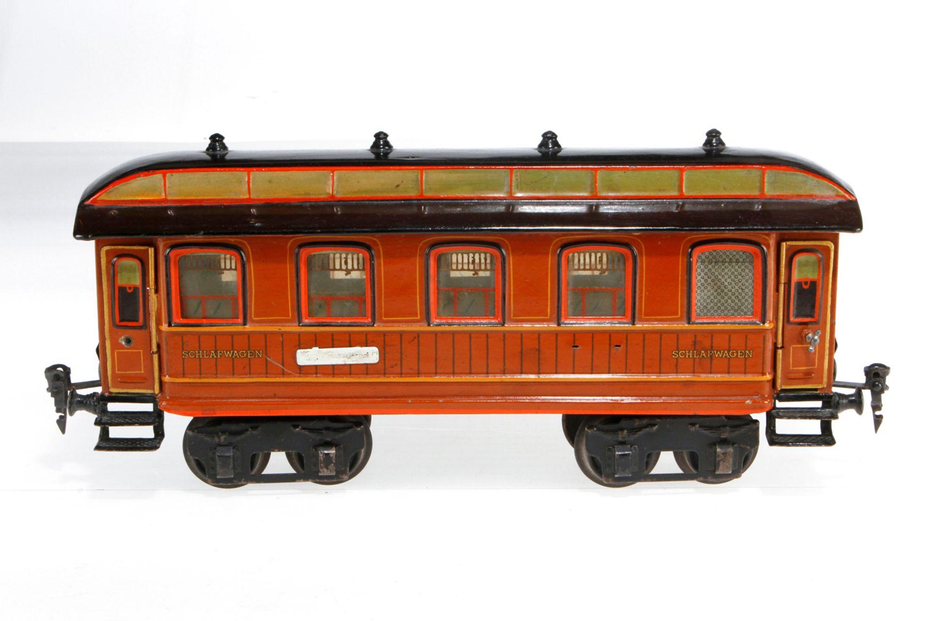 Märklin Schlafwagen 1843, S 1, uralt, HL, mit Inneneinrichtung und 4 AT, 1 Schild und 2 Türgriffe