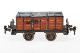 Märklin Hochbordwagen 1889, S 1, uralt, HL, mit 2 LTH, LS und gealterter Lack, L 21,5, Z 2-3