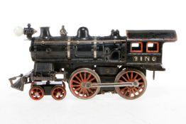 Bing amerik. 2-B Dampflok, S 1, Starkstrom, Guss, schwarz, mit 1 el. bel. Stirnlampe, Glocke und