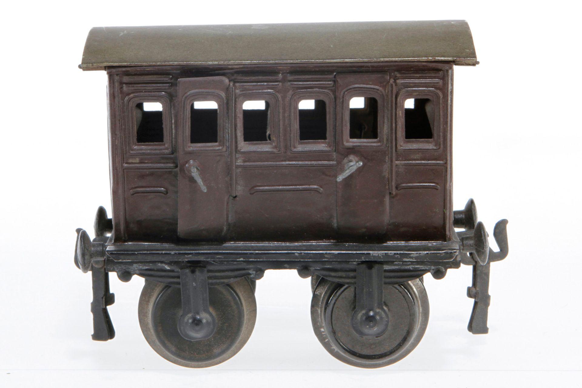 Märklin Abteilwagen, S 1, uralt, mit Inneneinrichtung und 4 AT, ÜL und rest., L 12,5