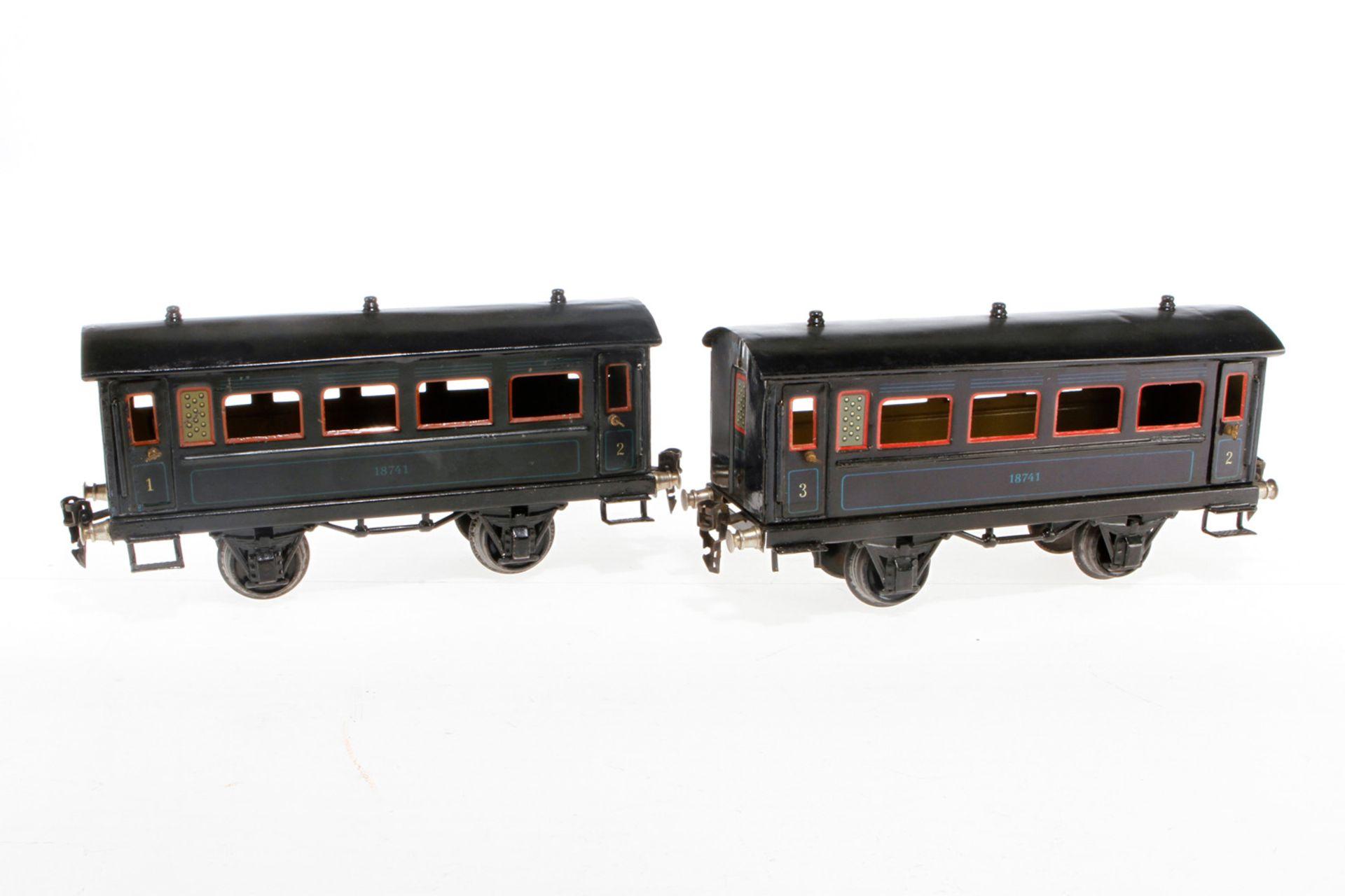 2 Märklin Personenwagen 1874, S 1, CL, Dächer rest., 2 Treppen NV, LS, L 24, Z 3