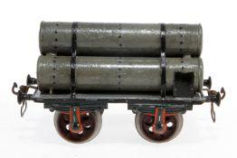 Märklin Gasröhrenwagen, S 2, uralt, HL, mit Bügelkupplungen, meist rest., Radsätze ergänzt, L 17,