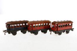 3 Bing Personenwagen, S 1, CL, 2 Dächer rest., LS, L 21, Z 3