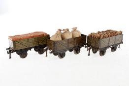 3 Bing offene Güterwagen, S 1, CL, LS, NV, L 19, Z 3