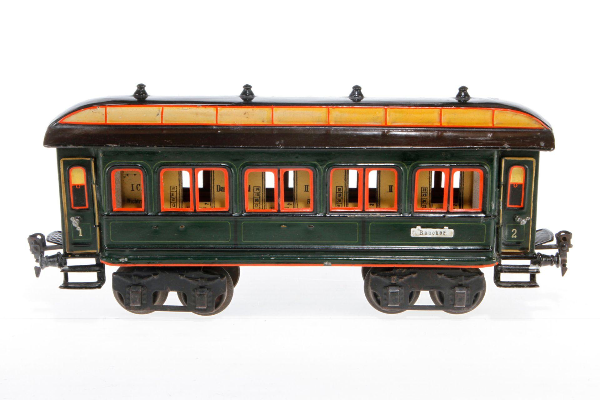 Märklin Personenwagen 1841, S 1, uralt, HL, mit Inneneinrichtung und 4 AT, 5 Schilder fehlen, LS und