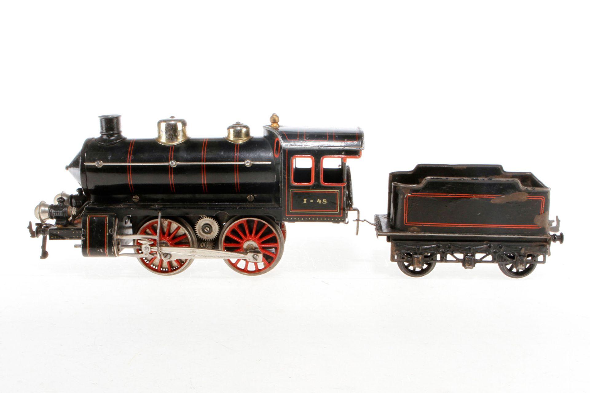 Bing B-Dampflok, S 1, Starkstrom, schwarz, mit Tender und 2 el. bel. Stirnlampen, LS tw