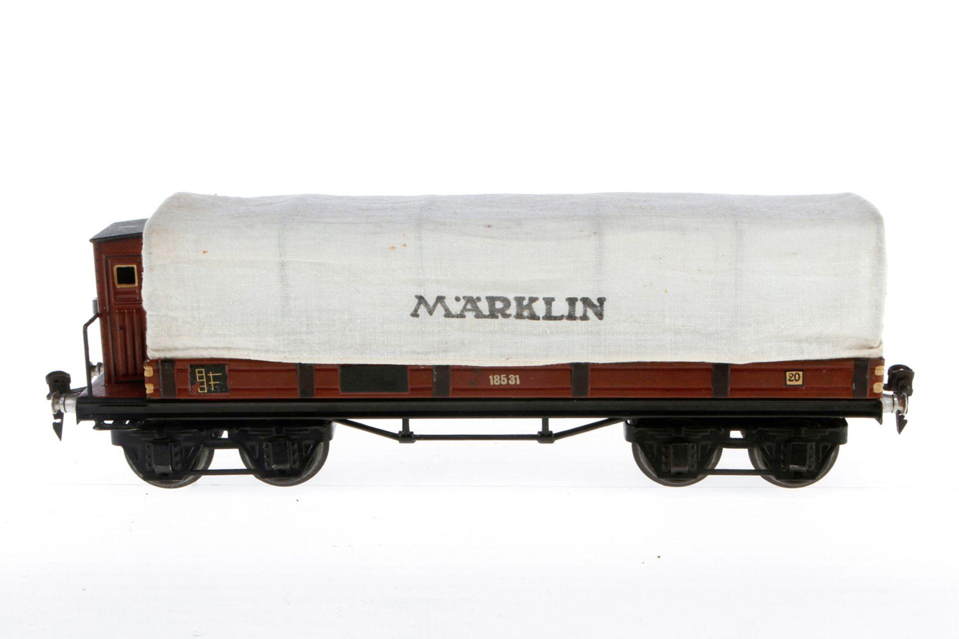 Märklin Planewagen 1853, S 1, HL, mit BRH, Export-Ausführung, LS und gealterter Lack, L 33,5, Z 2-3