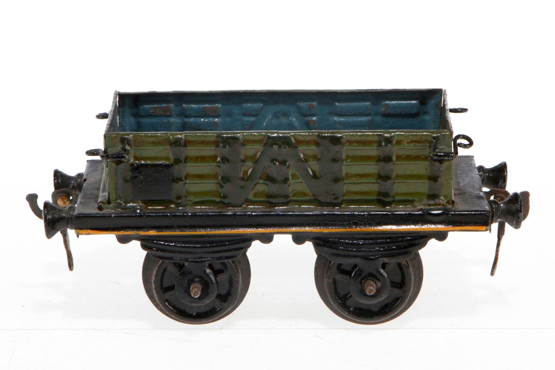 Plank offener Güterwagen, S 1, uralt, HL, Stirnwände zum Abklappen (1 lose), LS tw ausgebessert,