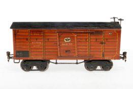 Märklin gedeckter Güterwagen 1926, S 1, HL, mit 2 ST, Dach rest., Trittstufen an Stirnseite fremd,