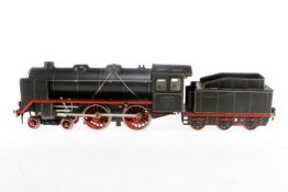 Märklin 2-B Dampflok E 921, S 1, Uhrwerk intakt, schwarz, mit Tender, kW und 2 imit. Stirnlampen, LS