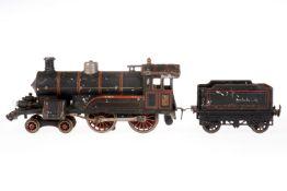 Bing 2-B Dampflok, S 1, uralt, Schwachstrom, schwarz, mit Tender und 2 el. bel. Stirnlampen, Z 4