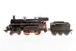 Bing 2-B Dampflok, S 1, elektr., schwarz, mit Tender und 2 el. bel. Stirnlampen, Dach ersetzt, tw