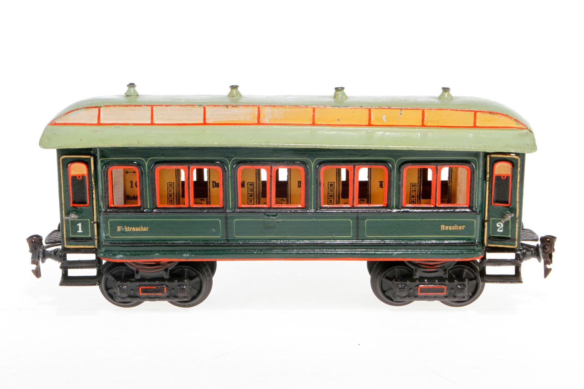 Märklin Personenwagen 1841, S 1, uralt, HL, mit Inneneinrichtung und 4 AT, LS tw ausgebessert,