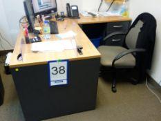 Lot : poste de travail avec retour, 1 fauteuil - SEULEMENT