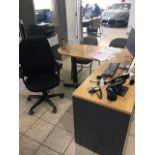 Lot : poste de travail avec retour, 3 fauteuils - SEULEMENT