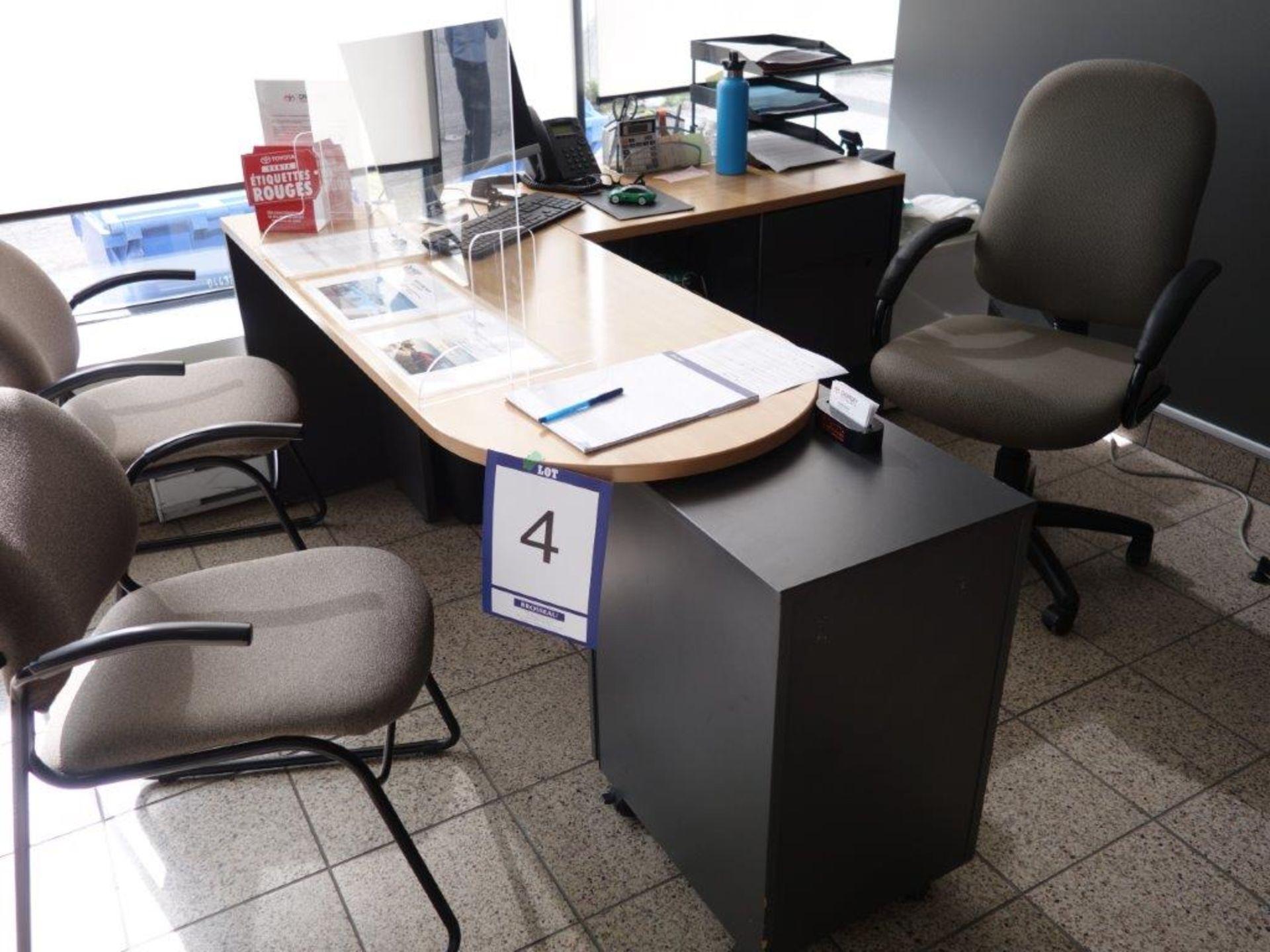 Lot : poste de travail avec retour, 3 fauteuils, cabinet 3 tiroirs - SEULEMENT