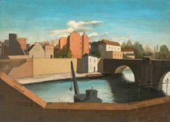 Barth, Amadé(Zürich 1899 - 1926 Romanäs, Schweden)Industriehafen an der Seine. Öl auf Leinwand auf