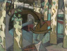 Camaro, Alexander(Breslau 1901 - 1992 Berlin)Mann in Platanenallee. Öl auf Leinwand. Um 1948. 79,5 x