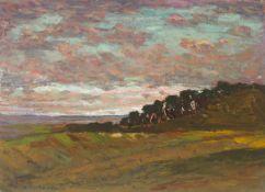 Bertelsmann, Walter(Bremen 1877 - 1963 Worpswede)Abend am Weyerberg (Worpswede). Öl auf fester