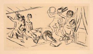Beckmann, Max(Leipzig 1884 - 1950 New York)Der Traum II. Kaltnadelradierung auf bräunlichem