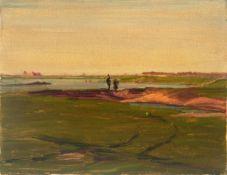 Champion, Theodor(Düsseldorf 1887 - 1952 Zell an der Mosel)o.T. (Landschaft am Rhein). Öl auf