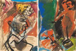 Anzinger, Siegfried(Weyer in Oberösterreich 1953 - lebt in Köln)o.T. (Profil) - o.T. (Maler und