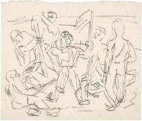 Beckmann, Max(Leipzig 1884 - 1950 New York)Aufbruch. Feder in Tusche auf chamoisfarbenem Karton.