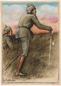 Bauer, Rudolf(Lindenwalde 1889 - 1953 New York)o.T. (Soldaten im Schützengraben). Pastell u. Kohle